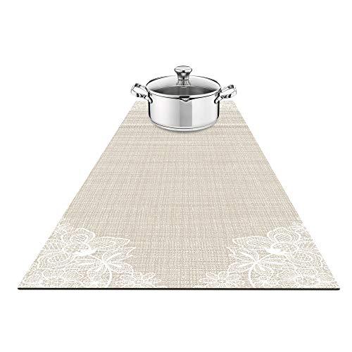 Fennoma Hotrun 2 em 1 Tripé e alças decorativas para mesa aquece até 356F, antiderrapante, à prova d'água e conveniente para pratos quentes e panelas, Beige & Lace