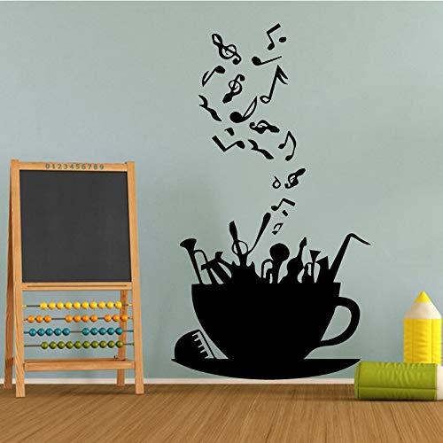 sanzangtang Musikalische Noten stilvolle Wandaufkleber fliegen mit den Windmusiksymbolen Wandaufkleber Hauptdekorationsmusik,45x79cm