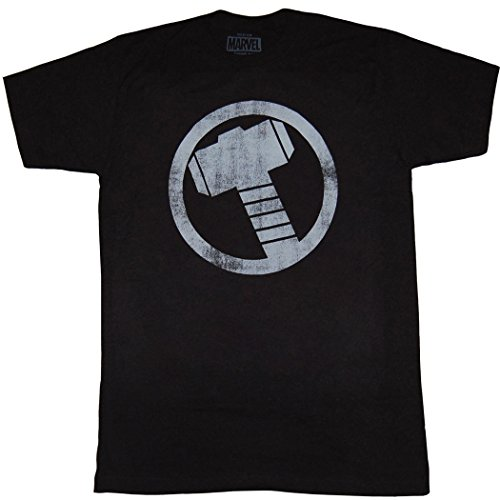 Thor Hammer Distressed Logo T-Shirt-Medium Black