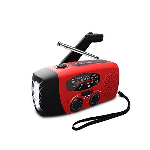 Sdesign Radio de Viento de Emergencia Radio Solar Radio Am/FM Radio Tiempo con 1000mAh Power Bank, Linterna Brillante para emergencias domésticas y Supervivencia al Aire Libre (Color : Red)