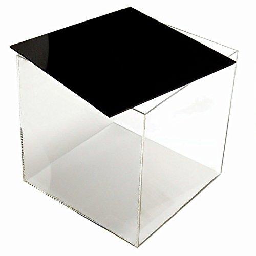 HOKU Holzhäuser Kunststofftechnik . Acrylbox mit Deckel/Boden in schwarz Grösse : 30x30x30 cm Würfel, Acryl/Plexiglas-Behälter mit 5 transparenten Seiten Glasklar EIN Produkt aus Deutschland.