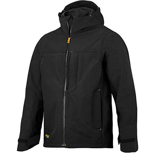 Snickers Workwear Flexi Work Wasserdichte Stretch-Shell Jacke, L, schwarz, 1300