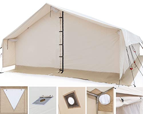 Outdoor Waterproof Large Canvas Wall Tent w/Heavy Duty Aluminum Frame, Angle Kit & PVC Floor best tents for 6 person tent, 8 person tent, 10 person tent for 4 season Hunting & Family Camping 10x12 FWR