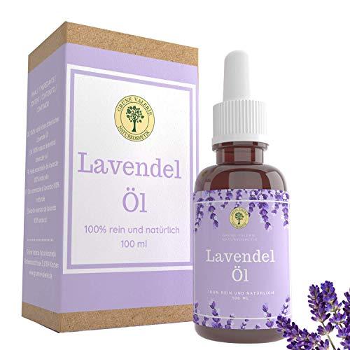 Grüne Valerie - Goldenes Naturreines Lavendelöl 100 ML aus echtem Lavendel (Lavandula Angustifolia) Einschlafhilfe & Raumduft für Diffuser und zur Aromatherapie - Pipette mit Glasflasche