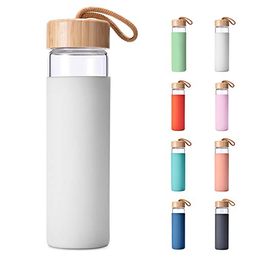 Yomious 20 Oz Borosilicate Glass Water Bottle with Bamboo Lid and Silicone Sleeve – BPA Free (White)