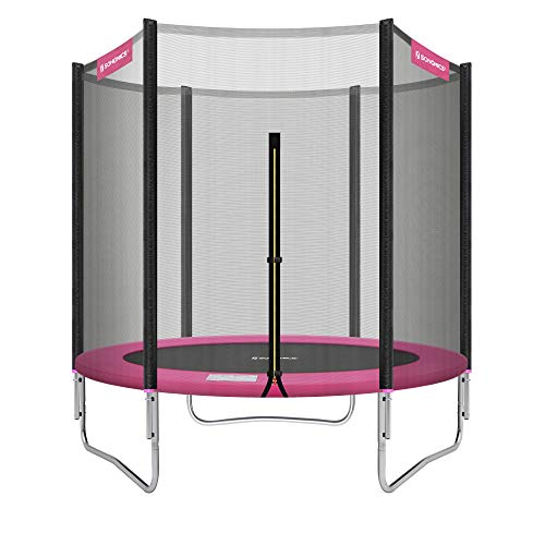 SONGMICS Trampolin Ø 183 cm, rundes Gartentrampolin mit Sicherheitsnetz, mit Leiter und gepolsterten Stangen, Sicherheitsabdeckung, TÜV Rheinland getestet, sicher, Outdoor, schwarz-pink STR061P01