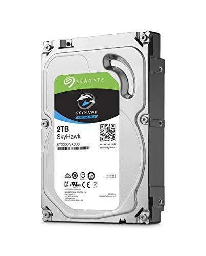 Seagate SkyHawk 2TB Surveillance Internal Hard Drive HDD – 3.5 Inch SATA 6Gb/s 64MB Cache for DVR NVR Security Camera System with Drive Health Management (ST2000VX008)