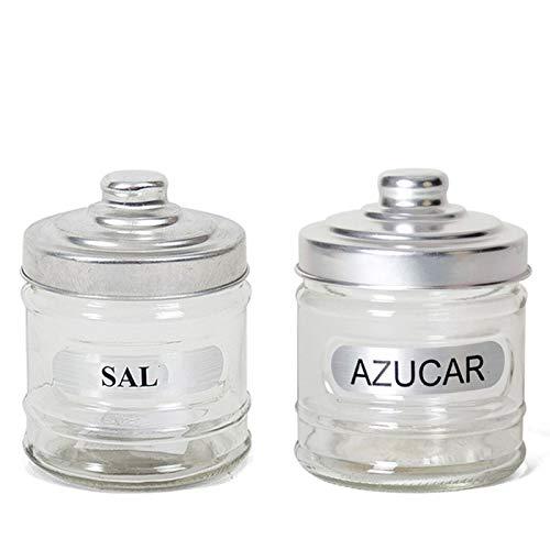 Set de 2 botes uno para sal y otro para azucar , Bote cristal Calero y azucarero transparente