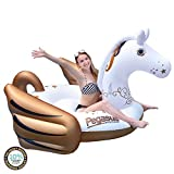 "Hoovy Giant Pegasus Inflatable Pool Float, 104""x73 x48"" Pool Float Ride On, Gold Pegasus Inflatable Island, Fun Beach Floaties, Party Toys, Summer Pool Raft Lounge for Adults & Kids"