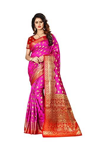 Delisa Fashion/Indian Pakistani Ethnic Wear Sarees for Women Banarasi Silk Woven Sari 9033 (Rani)