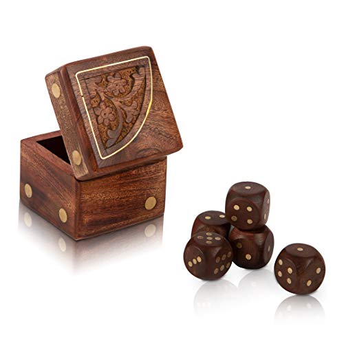 Handcrafted Wooden Decorative Dice Box Set of 5 Dice Portable Dice Cup Five Dice Game Set Storage Case Decorative Brass Inlay Toys & Games Birthday Housewarming Party Favor Gift Ideas