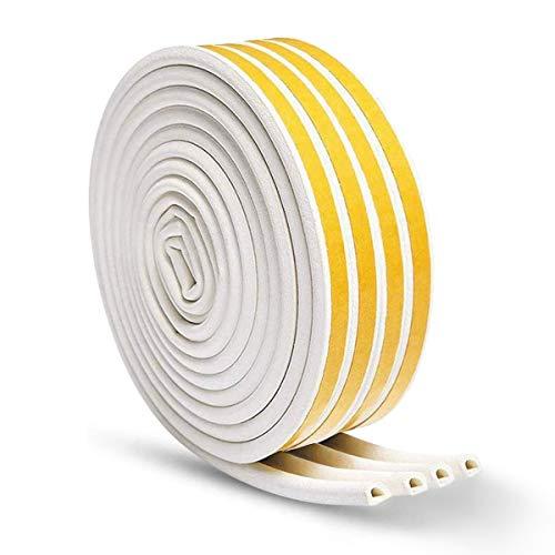 Tiras de goma autoadhesivas para puertas y ventanas, impermeables, tipo D, color blanco, 20 m, paquete (4 sellos)