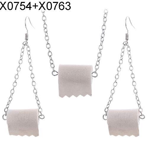 puran Frauen Toilettenpapier Anhänger Kette Halskette Haken Ohrringe Schmuck Für Geburtstag/Party/Weihnachten/Freundschaft Geschenke X0754 + X0763 Holzfarbe