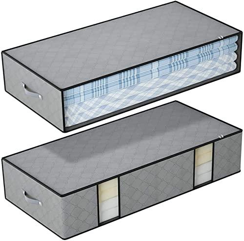 DIMJ Cajas Almacenaje Ropa Juego de 2 Bolsa de Almacenamiento de Ropa Bajo la Cama Gran Capacidad Organizador de Edredones con Ventana Transparente Bolsas para Edredones Mantas Ropa