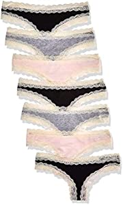 Marca Amazon - Iris & Lilly Calzoncillo Tanga de Algodón Mujer, Pack de 7, Multicolor (negro/melange/rosa suave), M, Label: M