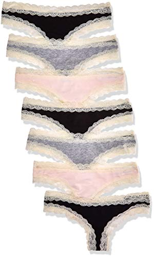 Amazon-Marke: Iris & Lilly BELK015M7 Tanga, Multicolour (Black/Melange/Soft Pink), 34 (Herstellergröße: X-Small), 7er-Pack