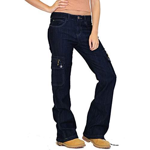 LOPILY Hose Damen Jeans Cargohosen Weites Bein Locker Bundhosen High Waist Chinohosen Freizeithosen Denim Jerseyhosen Damen Schlupfhosen Lose Casual (Blau, M)