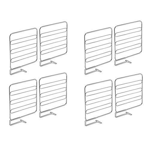 mDesign Juego de 8 separadores metálicos para organizar armarios y estanterías – Prácticos divisores de estantes y repisas – Sistema sencillo para colocar sin tornillos – plateado