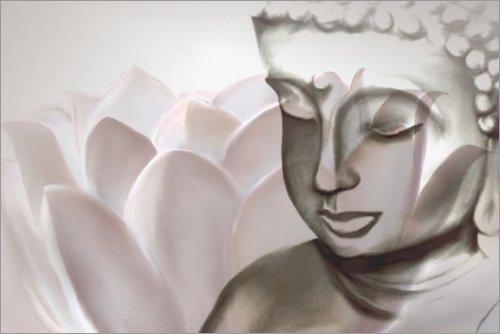 Posterlounge Holzbild 30 x 20 cm: Buddha Lotus von Christine Ganz