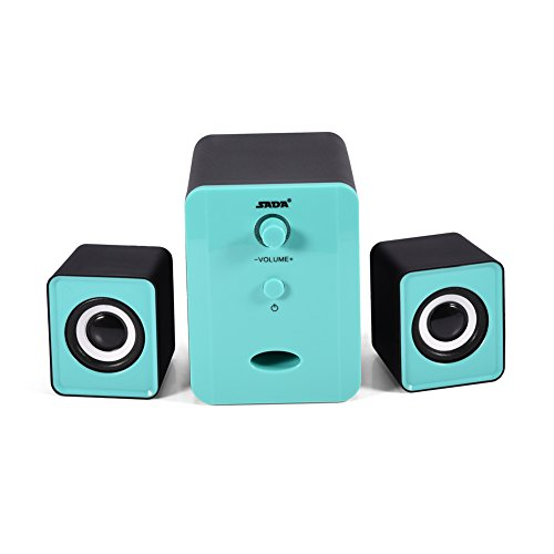USB-computerluidspreker met subwoofer, HiFi Audio Surround Sound luidsprekerset voor pc, laptop, tv, tablet en gamepad, zwart + blauw.