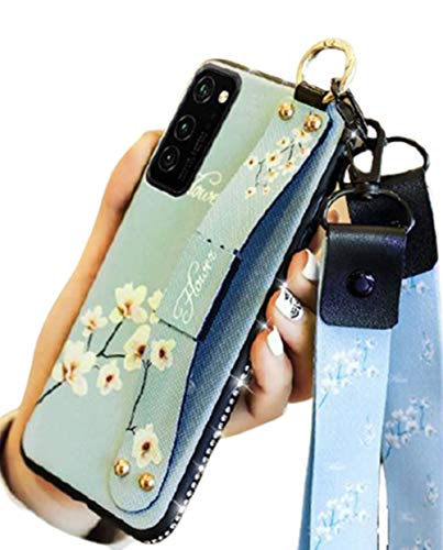 Aulzaju S21 Plus Case for Girls Women Cute Fashion Flower Rubber Bumper Cover with Strap Stand Luxury Bling Diamond Rhinestone Ring Holder Crossbody Lanyard Case for Samsung Galaxy S21 Plus-Blue