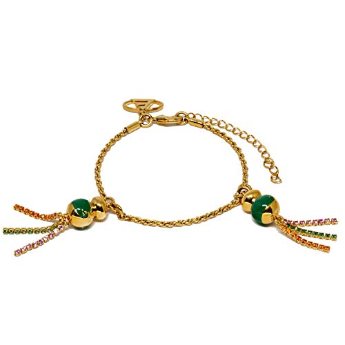 ELYPSE Pulsera de la Suerte – Chinitos de la Suerte - con Oro 18K - Verde para Buena Salud - 16 a 20cm. (Verde)