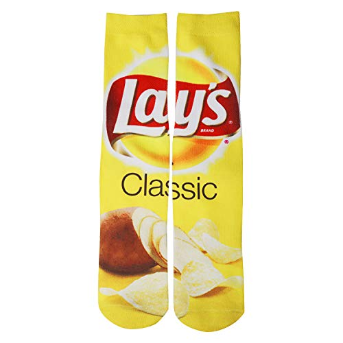 Benefeet Sox Mens Fun Crazy Colorful 3D Food Pattern Novelty Sports Crew Socks,Yellow Classic