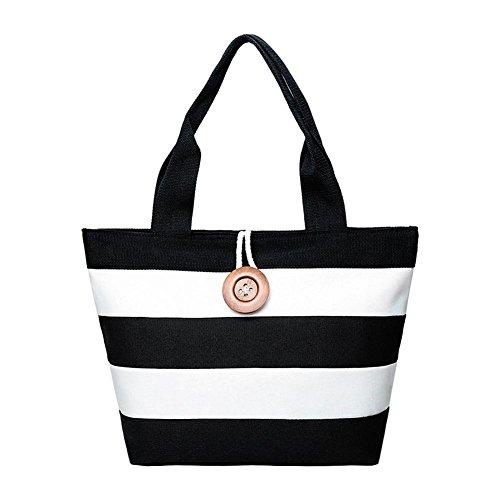 Bolsa de playa negra y blanca, en lienzo, para la señora Canvas,...