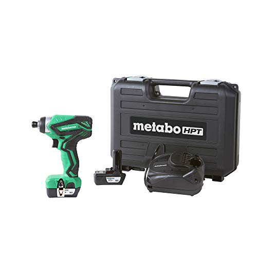 Metabo HPT WH10DFL2 12V Peak Cordless Impact Driver Kit, Includes 2-12V Lithium Ion Batteries, 25-Min Quick Charger, #2 Driver Bit, & Carrying Case, 955 In/Lbs Driving Torque