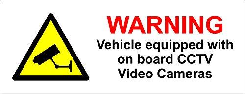 Pegatina para coche, diseño de cámara con inscripción en inglés Warning, on board CCTV, 130 x 50 mm