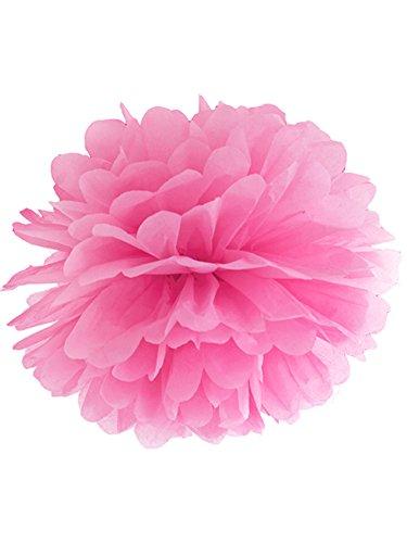 Papieren pompoms roze wit pompom zijdepapier bruiloft decoratie slinger 35 cm