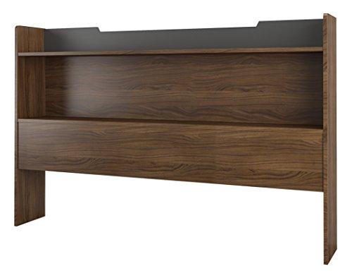 Nexera Queen Size Bookcase Headboard, Walnut and Charcoal Grey