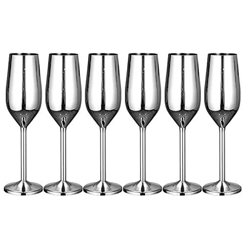 Juego de copas de champán, 200 ml, diseño clásico y sin costuras, juego de copas de vino espumoso, para boda, vino tinto, Navidad, cumpleaños (plata, 6 unidades)