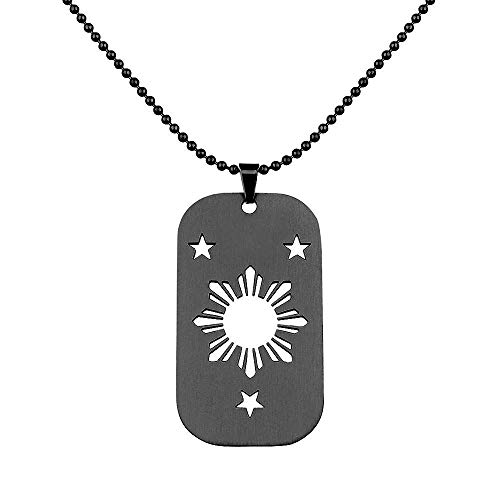 Sunkissed Pinay Filipino Sun and Stars Dog Tag Necklace Pinoy Pride Jewelry Philippines Heritage Apparel (Black)