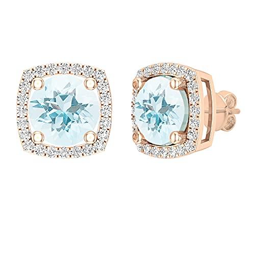 Dazzlingrock Collection Pendientes redondos de 7 mm de color aguamarina y diamantes blancos para mujer, estilo halo, oro rosa de 14 quilates