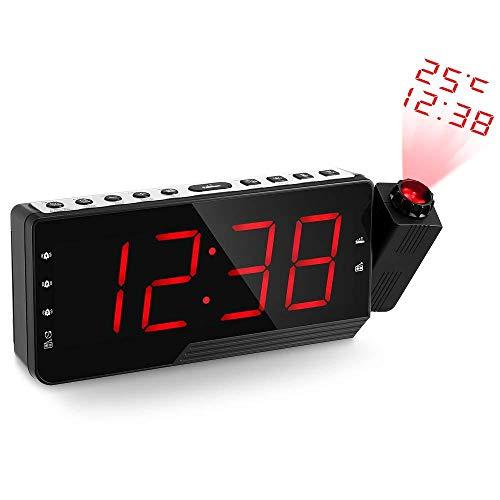 FPRW Digitale wekker, projectieklok met radio, FM-wekker, projectiewekker, grote cijfers, eenvoudige bediening, rood