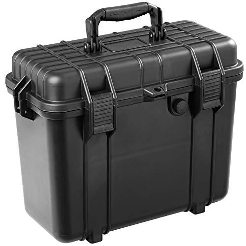 tectake 403597 Universalbox Schutzkoffer aus Kunststoff, Staub- & wasserdicht, Outdoor Koffer mit Schaumstoff, Schnappverschlüssen, Dichtungsring und Druckausgleichsventil, schwarz