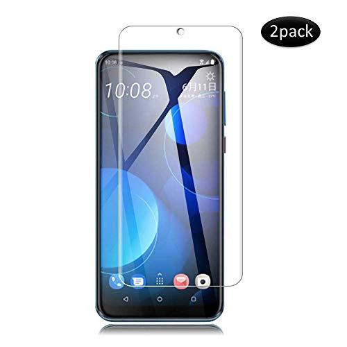 KONEE Panzerglas Schutzfolie für HTC Desire 19+, 【2 Stück 】 HD Klar Bildschirmschutzfolie [ 9H-Festigkeit, Anti-Kratzer, Blasenfrei, Anti-Fingerabdruck ] Panzerglasfolie für HTC Desire 19 Plus