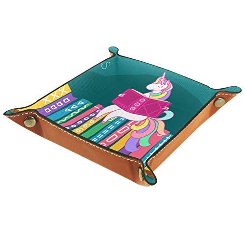 rodde Bandeja de Valet Cuero para Hombres - Libro de Lectura de Unicornio en el Estante - Caja de Almacenamiento Escritorio o Aparador Organizador, Captura para Llaves,Teléfono,Billetera