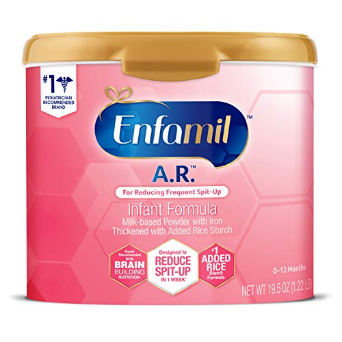 Enfamil A.R. Infant Formula, Clinically Proven to Reduce Reflux & Spit-Up in 1 Week, DHA for Brain Development, Probiotics to Support Digestive & Immune Health, Reusable Powder Tub, 19.5 Oz