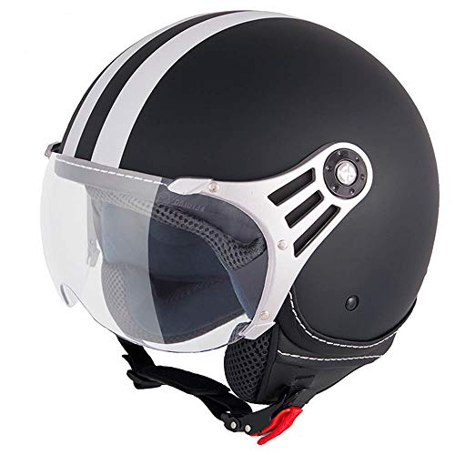 Vinz Fiori Roller Helm Jethelm Fashionhelm |in Gr. XS-XL | Jet Helm mit Streifen | ECE Zertifiziert | Motorradhelm mit Visier | Schwarz Matt