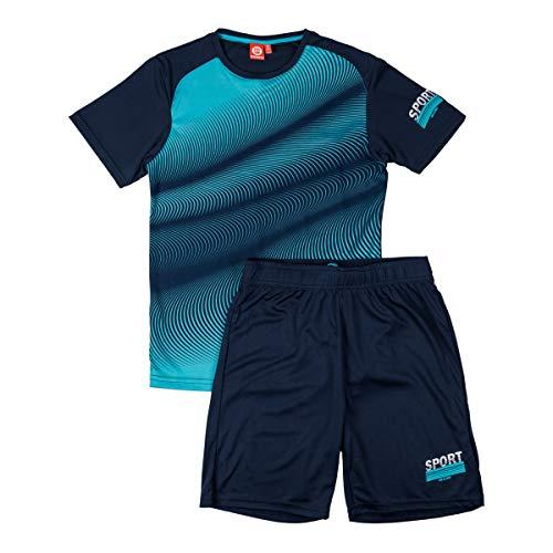 ALPHADVENTURE Go&Win Conjunto Deportivo Manga Corta Azul y Marino Dynamo Jr para Niño (Azul y Navy, Numeric_152)