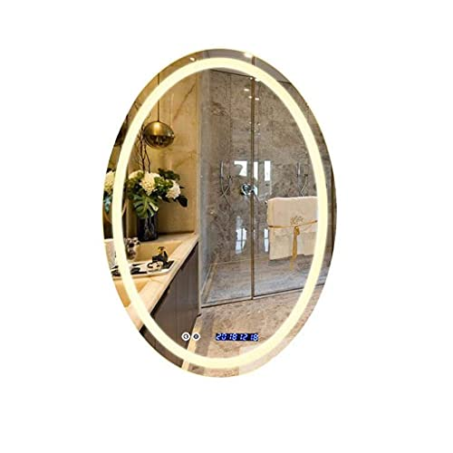 LZLYER Espejo Escritorio Espejo Tocador Baño Colgante de Pared Decoración Belleza, Pared Moderno Led con Calefacción Iluminado con Sensor de Luz Retroiluminado + Interruptor Táctil + Pantalla de Fech