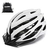 KING BIKE - Casco de ciclismo + mochila para casco portátil, visera desmontable, luz LED trasera de seguridad, certificación CE (M/L; L/XL), Unisex adulto, color blanco, tamaño XL:59-63CM