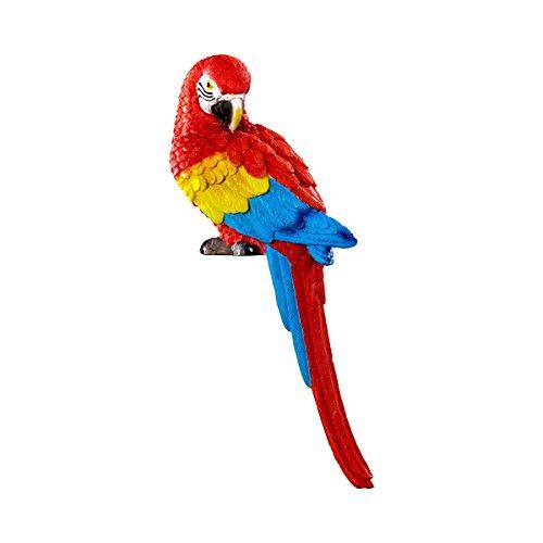 Unbekannt TRI Baum-Papagei, Gartenfigur, Gartendeko, Vogelfigur, Wellensittich, Sommerdeko, Baumdeko, Astdeko, Sommerdeko, Kunststein, 32 x 9 x 12,5 cm