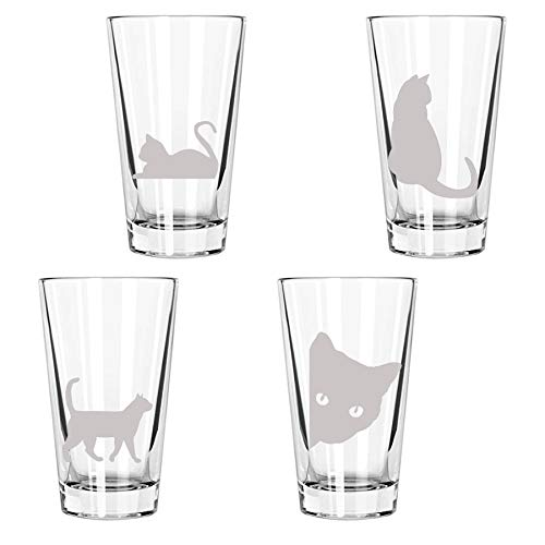 Cute Cats Being Cats Drinking Glasses: 4 Engraved 16oz. Pint Glasses: cat lover, cat decor, cat mom