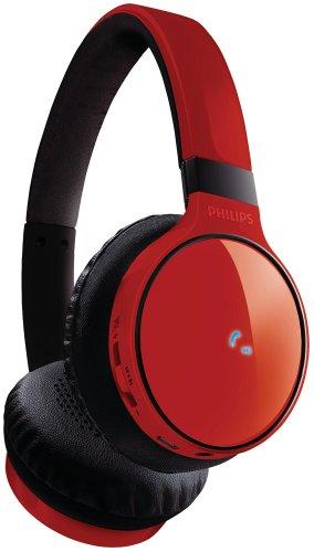 Philips SHB9100 - Auriculares de Diadema Abiertos Bluetooth, Rojo