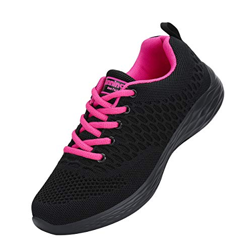 CXWRZB Donna Scarpe da Ginnastica Sneakers Sportive Running Fitness Gym Shoes Nero Rosa 37 EU