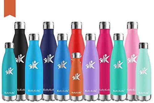KollyKolla Bottiglia Acqua in Acciaio Inox, 500ml Senza BPA Borraccia Termica, Isolamento Sottovuoto a Doppia Parete, Borracce per Bambini, Scuola, Sport, All'aperto, Palestra, Yoga, Arancione