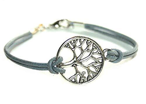 Lebensbaum Lederarmband grau/silberfarben, 16/17cm, Handmade, ein suüßes Geschenk für die beste Freundin, liebste Schwester, für Mutti oder einfach an sich selbst.